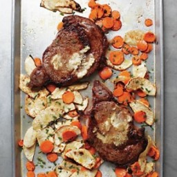 Ribeye with Horseradish Butter and Root Vegetables