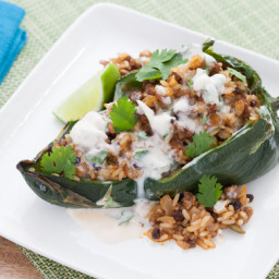 Rice and Beef-Stuffed Poblano Pepperswith Lime-Crema Sauce