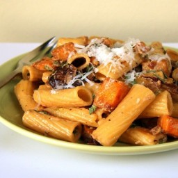 Rigatoni with Goat Cheese, Roasted Butternut Squash and Mushrooms
