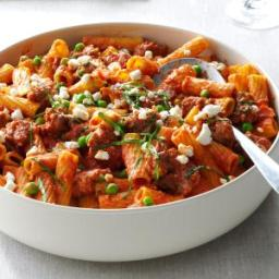 Rigatoni with Sausage and Peas Recipe