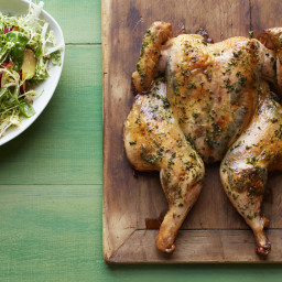 Roast Basil Chicken, Basil Baby Potatoes, Frisee Plum Salad