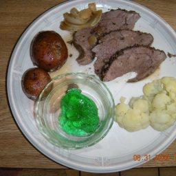 Roast Leg of Lamb with Potatoes and Garlic
