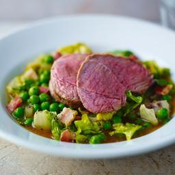Roast loin of lamb, peas, lettuce and bacon