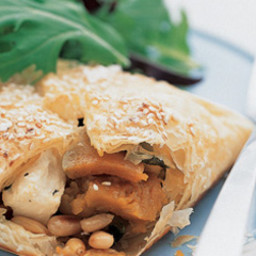 Roast pumpkin, feta and pine nut pastie