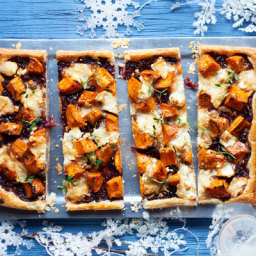 Roast sweet potato and onion tart with goat's cheese