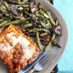 Roasted Balsamic Parmesan Green Bean and Mushroom Almondine