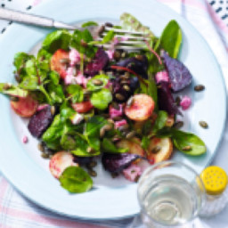 Roasted beetroot and pea shoot salad