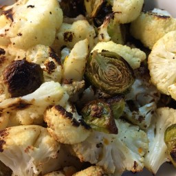 Roasted Brussels Sprouts and Cauliflower with Orange
