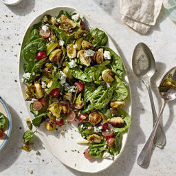 Roasted Brussels Sprouts and Spinach Salad