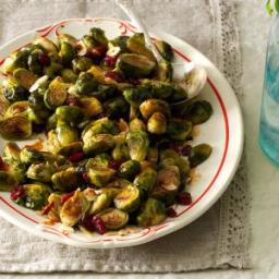 Roasted Brussels Sprouts with Cranberries and Almonds Recipe