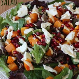 Roasted Butternut Squash, Pomegranate and Goat Cheese Salad