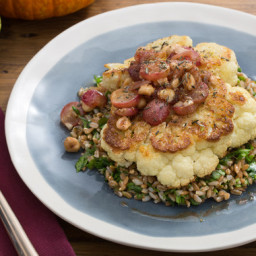 Roasted Cauliflower Steakswith Brown Butter-Grape Sauce and Farro