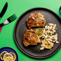 Roasted Chicken Thighs with White Beans, Lemon, and Capers