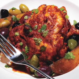 Roasted Chili Citrus Chicken Thighs with Mixed Olives and Potatoes
