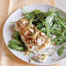 Roasted Cod with Almond-Thyme Breadcrumbs