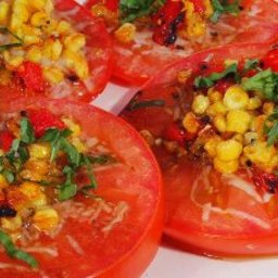 Roasted Corn and Tomato Salad with Herbed Oil