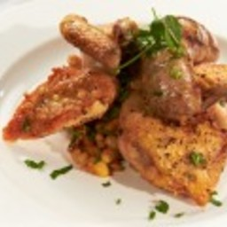 Roasted Game Hen with Toulouse Sausage and Cassoulet