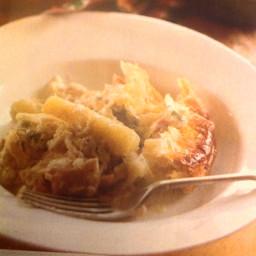 Roasted parsnip, chicken and Stilton pie