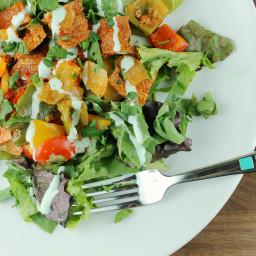 Roasted Pork Fajita Salad with Coconut Lime Dressing