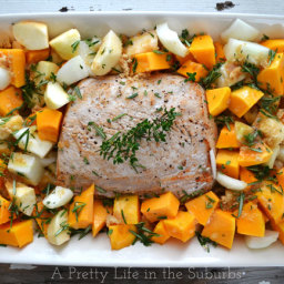 Roasted Pork with Brown Sugar and Rosemary Roasted Butternut Squash and App