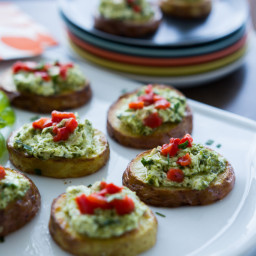 Roasted Potato Crostini with Pesto Cheese