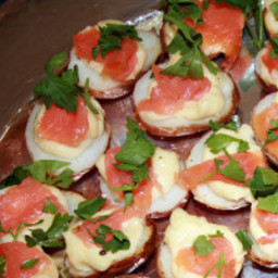 Roasted Red Potato Halves Topped with Allioli and Smoked Salmon
