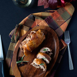 Roasted Turkey Thighs Stuffed with Dried Cranberries, Mushrooms and Sausage