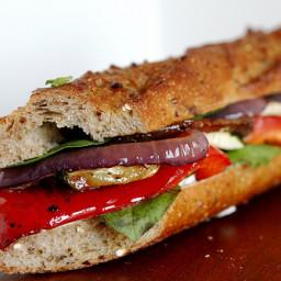 Roasted Vegetables Baguette Sandwich