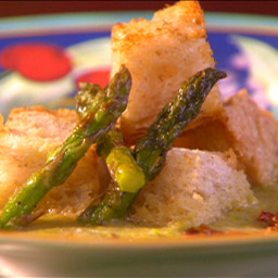 Roasted Asparagus Soup with Sun-dried Tomatoes and Parmesan Croutons