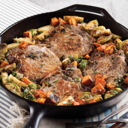 Roasted Pork Chops with Brussels Sprouts and Sweet Potatoes