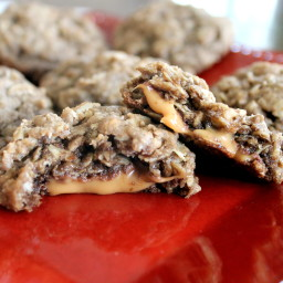 Rolo-Stuffed Chocolate Toffee Oatmeal Cookies