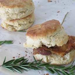 Rosemary Chicken Fat Biscuits with Crispy Chicken Thighs