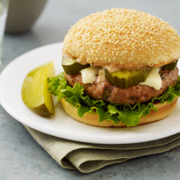Russian Turkey Burger with Sweetpickle Sauce