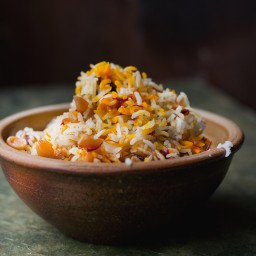Saffron, date and almond rice