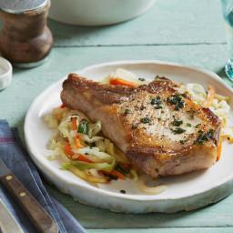 Sage Rubbed Pork Chops with Warm Apple Slaw