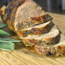 Sage rubbed pork tenderloin with maple glazed sweet potatoes