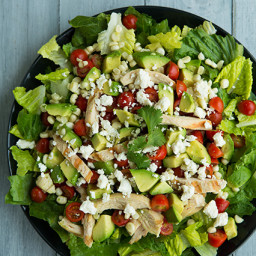 Salad with Grilled Chicken, Avocado & Tomato with Honey-Lime, Cilantro Vina