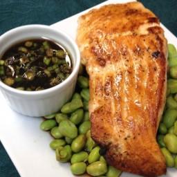 Salmon and Edamame in Ponzu Sauce