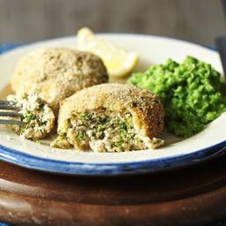 Salmon fish cakes with mushy peas