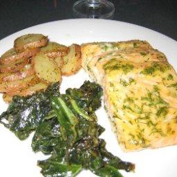 Salmon, Mustard Greens And Potatoes with Mustard-Dill Glaze