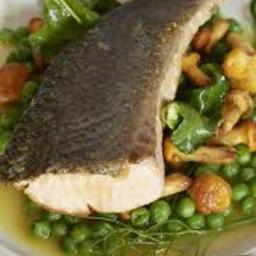 Salmon Tail with Peas and Wild Mushrooms