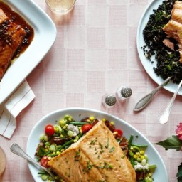 Salmon With Beluga Lentil Salad