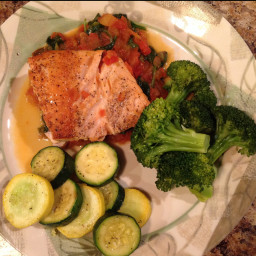 Salmon with Braised Spinach and Tomato