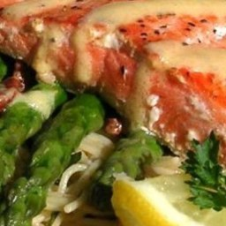 Salmon With Dijon Butter Sauce, Asparagus and Herb Butter Angel Hair Pasta