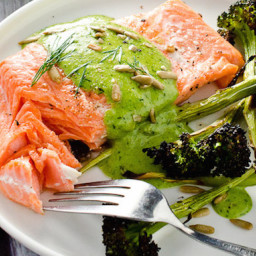 Salmon with Sunflower-Dill Pesto Sauce