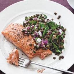 Salmon With Warm Lentil Salad