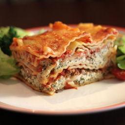 Salmon and spinach lasagna