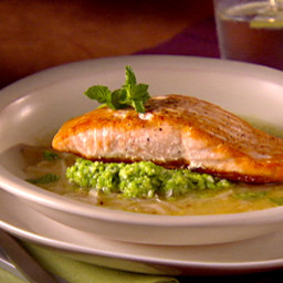 Salmon in Lemon Brodetto with Pea Puree