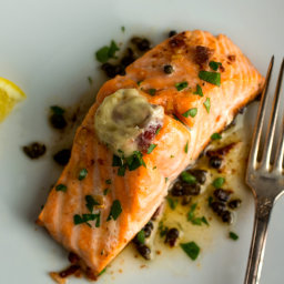 Salmon With Anchovy-Garlic Butter