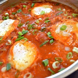 salsa poached eggs  and  grits